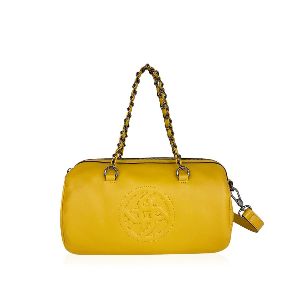 時尚b群圓筒鍊包+帶黃