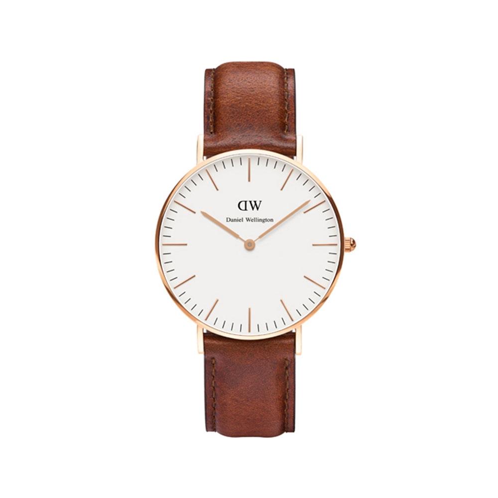 CLASSIC ST. MAWES 36MM 玫瑰金蛋殼白錶盤腕錶