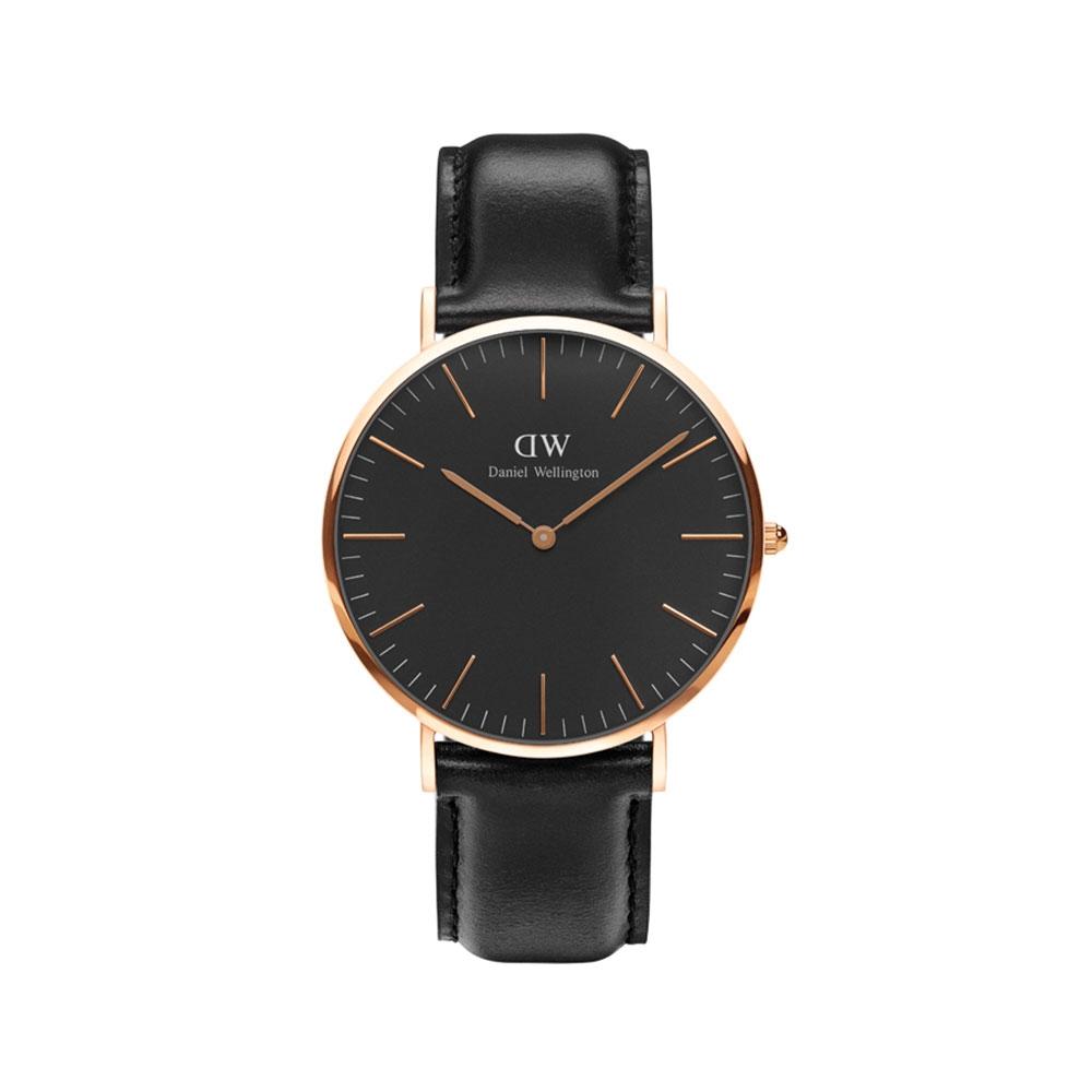 CLASSIC SHEFFIELD 40MM 玫瑰金黑錶盤腕錶