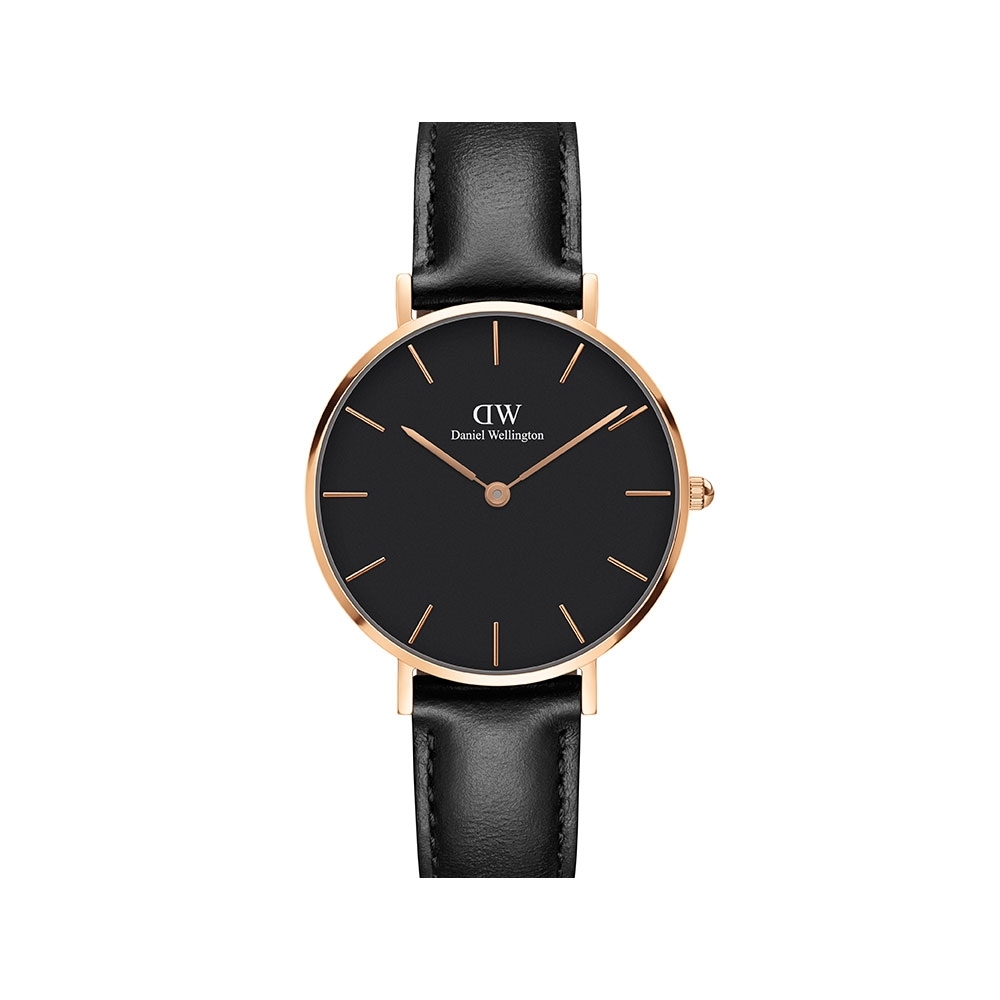 PETITE SHEFFIELD 32MM 玫瑰金黑錶盤腕錶